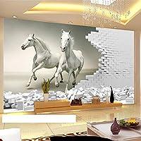 3D壁壁画壁紙立体ホワイトホースレンガ壁アート壁画リビングルーム寝室背景壁紙-300x210cm