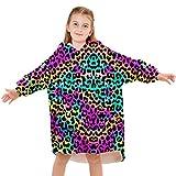 Kids Fleece Blanket Hoodies Color Leopard Long Sleeve Hooded Sweatshirt Oversized Flannel Wearable Blanketry with Pocket for Boys Girls 4-14 Years