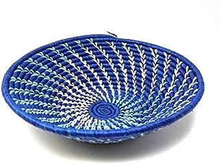 Handmade Sisal Blue Fruit Basket Brown Organic