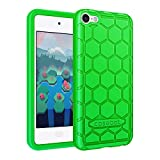 Fintie Silicone Case for iPod Touch 7 iPod Touch 6 iPod Touch 5 - (Honey Comb Series) Impact Shockproof Anti Slip Soft Protective Cover for iPod Touch 7th 6th 5th, Green