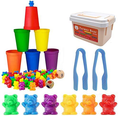 BYBOT 71 Piezas Contando de Osos con Vasos de Clasificación a Juego, Juguetes Educativos de Reconocimiento Stem para Niños Pequeños, Montessori Juego de Combinación de Colores