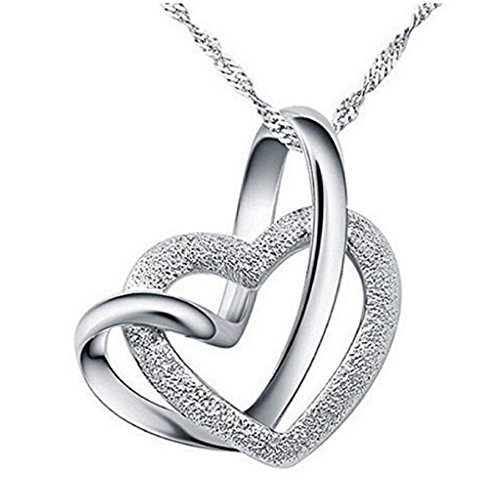 Gemini_mall® Herzanhänger mit Kette, versilbert mit 925er Sterlingsilber, Damen-Schmuck, Geschenk für Damen, silber, Einheitsgröße