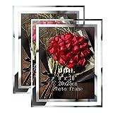 Amazon Brand - Umi Marcos de Fotos 20x25 de Vidrio para la Mesa, Portafotos Multiples de Cristal, con el Borde Plateado, Set de 2