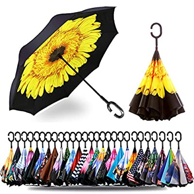 Spar. Saa Double Layer Inverted Umbrella with C-Shaped Handle, Anti-UV Waterproof Windproof Straight Umbrella for Car Rain Outdoor Use (Yellow Daisies)