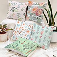 BRICK HOME Floral Printed Canvas Cotton Cushion Cover, 18x18 Inches, Set of 5