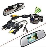 """BW® - Kit di specchietto retrovisore interno per auto con monitor TFT LCD da 4,3"""", con telecamera CCD wireless impermeabile assistente di parcheggio"""