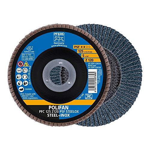 PFERD 69398195 Fächerscheibe POLIFAN 5 Stück   Ø 125 mm, Z 120, konisch, PSF STEELOX   für Stahl und Edelstahl (INOX)