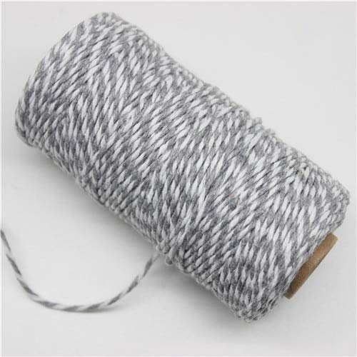 JIUFU Cuerda de Panadero de algodón de Doble Color de 100 M * 2 MM para Accesorios Hechos a Mano, Regalo de Fiesta de Boda, Envoltura de decoración DIY