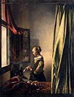 Johannes Vermeer ジクレープリント キャンバス 印刷 複製画 絵画 ポスター (開いた窓で手紙を読む女の子)