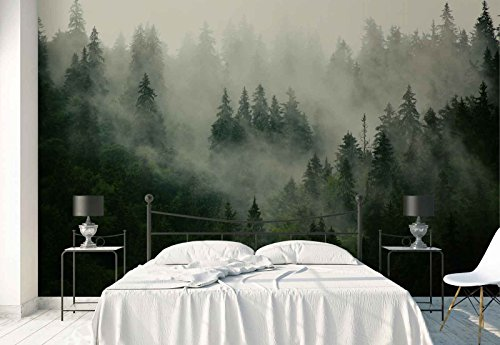 Photo wallpaper wall mural - Forest Fog Nature - Theme Forest & Trees - XL - 12ft x 8ft 4in (WxH) - 4 Pieces - Printed on 130gsm Non-Woven Paper - FW-1116V8