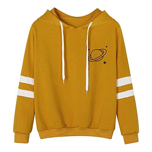 TUDUZ Hot Womens Fashion Long Sleeve Stripe Sweatshirt Simple Casual Planetary Printed Hoodie Pullover Tops Blouse Yellow M