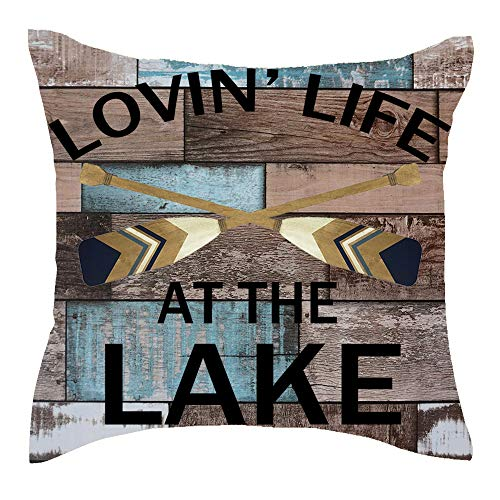 Jimrou Throw Pillow Cover 18x18inches Festival Best Gifts Loving Life at The Lake Oars Retro Wood Grain Enjoy Summer Cotton Linen Decorative Home Sofa Chair Car Square Throw Pillow Case Cushion Cover