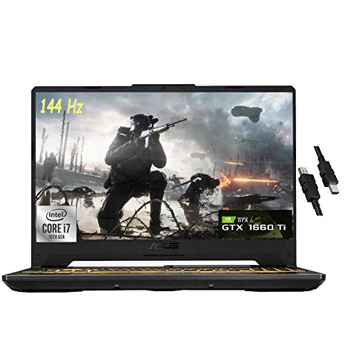2021 Flagship Asus TUF F15 Gaming Laptop 15.6' FHD 144Hz Display 10th Gen Intel Octa-Core i7-10870H 24GB RAM 512GB SSD NVIDIA GeForce GTX 1660 Ti 6GB RGB Backlit DTS Webcam Win10 + HDMI Cable