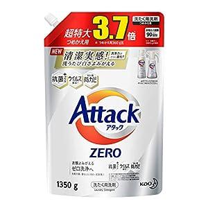 """【大容量】アタック ゼロ(ZERO) 洗濯洗剤(Laundry Detergent) 詰め替え 1350g (清潔実感! 洗うたび白さよみ..."""""""