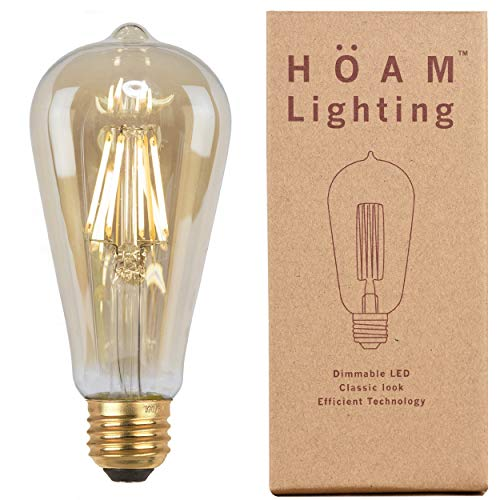 Edison Bulb from HOAM Lighting, Dimmable LED Filament, Antique Style, 8W LED 75W Incandescent Equivalent 2700K Warm Amber Color Temperature, ST18 ST64, E26 E27 Screw Cap, 120V