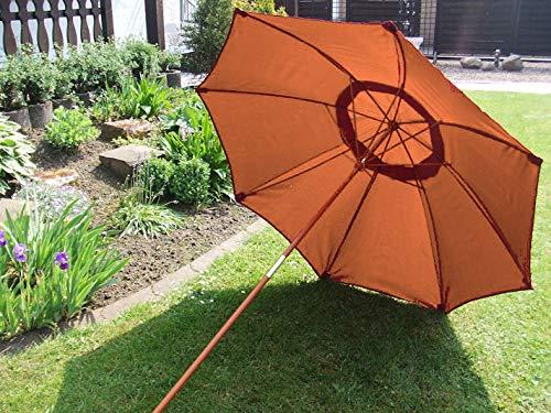 Spetebo Bambusschirm 2,0m in Terracotta - praktischer Strandschirm in Tragetasche - Holz Sonnenschirm