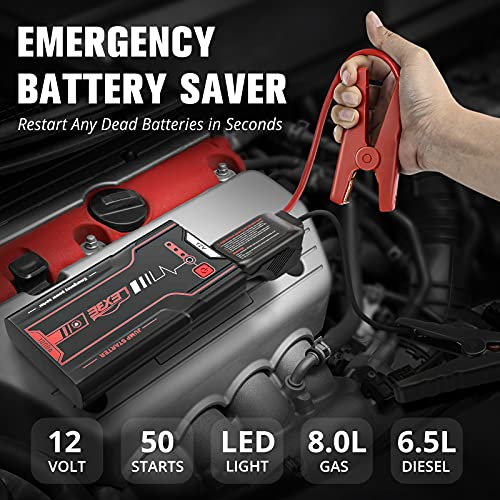 Car Jump Starter,LEXBE 1000A Peak 18000mAh Auto Battery Booster Jump Box for Up to 7.5L Gas 6.0L Diesel Engine,12V Portable Power Pack with Smart Safety Jumper Cable,USB QC 3.0 and LED Light