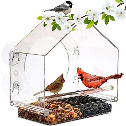 Mangeoire à oiseaux en forme de maison en acrylique transparent pour fenêtre de plafond