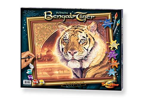 Schipper 609130454 malowanie według liczb, Indie Bengal Tiger obrazy dla dorosłych, łącznie z pędzlem i farbami akrylowymi, 40 x 50 cm