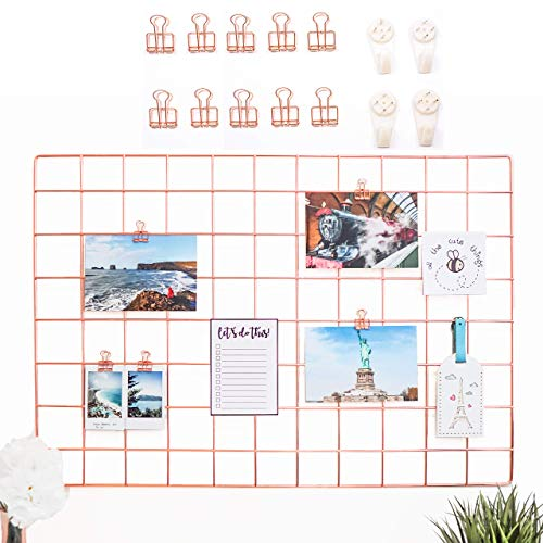 AllTheCuteThings Rose Gold Wire Wall Grid with 10 Rose Gold Metal Clips and 4 Hooks, Size...