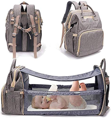 5 in 1 Diaper Bag Backpack with Bassinet, Portable Travel Crib Changing Station Foldable Bed Convertible Newborn Christmas Baby Essentials Accessories Stuff USB Port (Color : Gray)