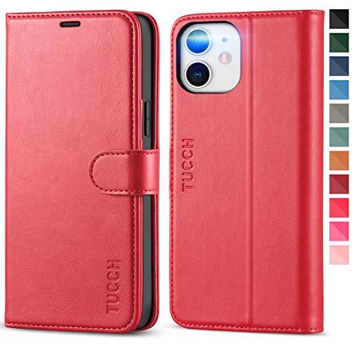 TUCCH Custodia iPhone 12 PRO, Cover iPhone 12 [RFID Blocking] Portafoglio, Pelle Sintetica TPU Antiurto, Funzione di Supporto Slot per Schede per iPhone 12 12 PRO (6,1 Pollici, 2020) - Rosso