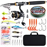 Goture Fishing Rod Kit with Ultralight and Durable Fishing Pole and Spinning Reel Fishing Gear Set Sea Saltwater Freshwater Kit for Travel Fishing Trout Salmon