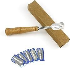 Yousir Roestvrij stalen broodblad gebogen mes, broodsnijgereedschap houten handvat met 5-delige reservemesjes