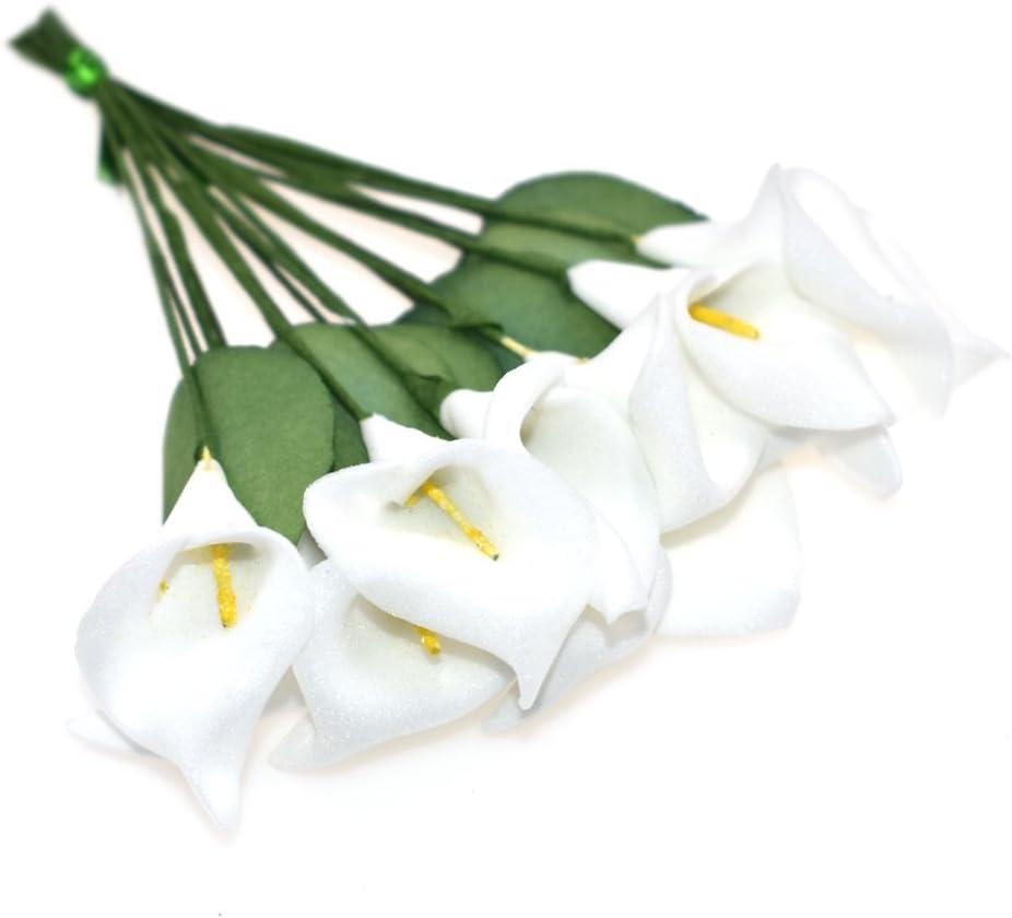 HOKPA Artificial Mini Calla Lily Flower Heads, Fake Floral Bouquet Head for Crafts Scrapbooking Garden Wedding DIY Making Bridal Garland Hair Clips Headbands Decoration (144pcs White)