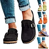 Womens Slip-on Loafers Shoes Solid Color Casual Flat Shoes Ladies Leather Flip Flops Sandals Comfort Walking Shoes