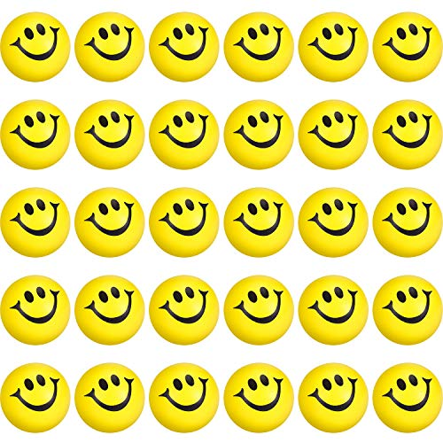 Yellow Smile Funny Face Stress Balls, Mini Foam Balls, Happy Smile Stress Balls for School Carnival Reward, Party Bag Gift Fillers (50 Pieces)