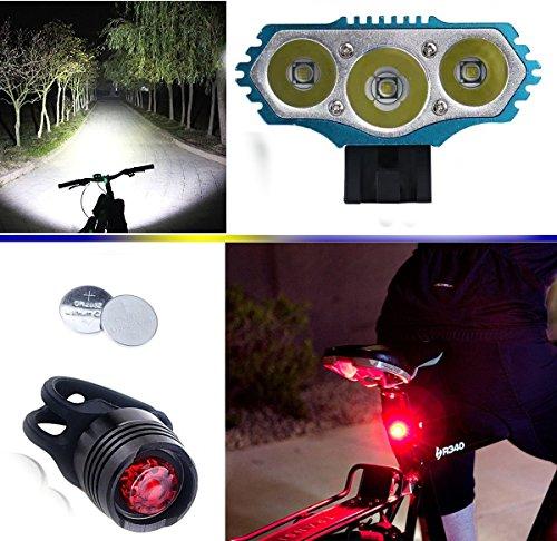 E-Fun Faro Bicicletta LED Luce luci per Bici Bicicletta MTB,Torcia da Testa Lampada (4 modalità,3 LED) CREE 3X CREE XMLcon 4x18650 Batteria + Caricabatterie & 2 LUCI LED Bici Posteriore (Azzurro)