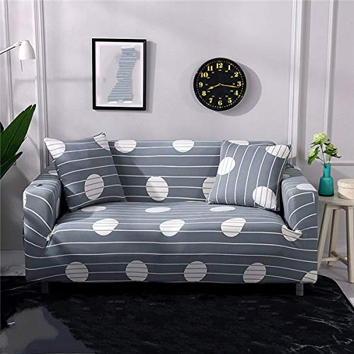 QTSUANNAI Sofá Funda,Elastic Couch Covers Tight Wrap All-Inclusive Sofa Covers Gray Wave Point For Living Room Stretch Sectional Slipcovers Funda Sofá Chaise Longue,3,Seat 190,230Cm
