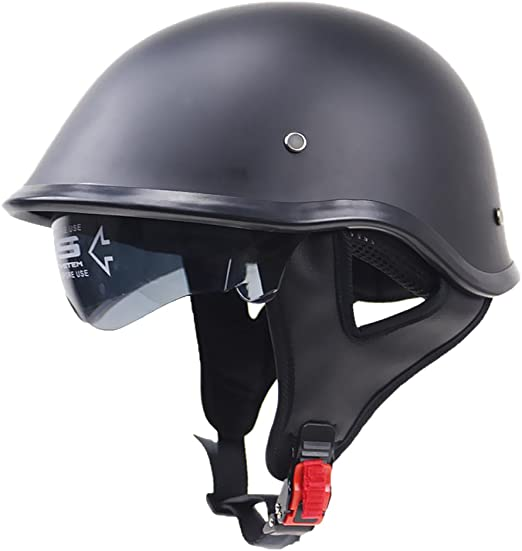 Almencla Unisex Motorradhelm Jethelm Helm Rollerhelm Matte Schwarz Halbschalenhelm Helmschale Mit Halteband Xxl Auto