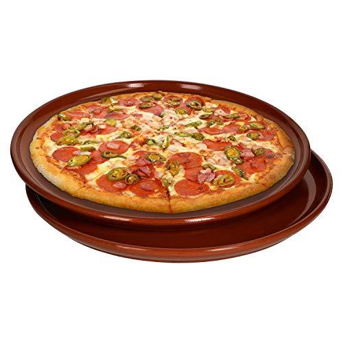 MamboCat Pizzateller 2er Set Ton Teller 2,5 x Ø 32 cm I Mediterranes Geschirr Set Antike Teller in hochwertiger Handarbeit I Ton Platte Wikinger Teller Mittelalter Teller Set Ton Geschirr Glasiert