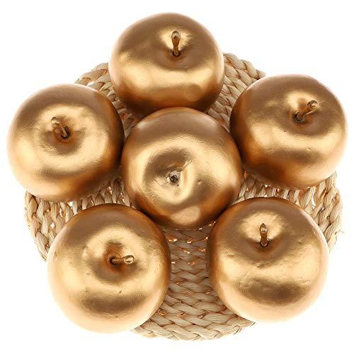 Gresorth 6 Stück Künstlich Gold Apfel Fälschung Äpfel Obst Zuhause Party Christmas Dekoration
