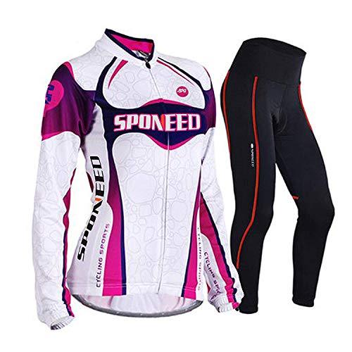 sponeed Women's Cycle Jersey Bike Clothing Gel Padded Long Sleeve Nobility Size L US Purple