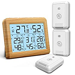 ORIA Indoor Outdoor Thermometer with 3 Wireless Sensors, Digital Hygrometer Thermometer, Temperature Humidity Monitor Meter with LCD Backlight, Wireless Thermometer for Home, Office, Bedroom, Brown