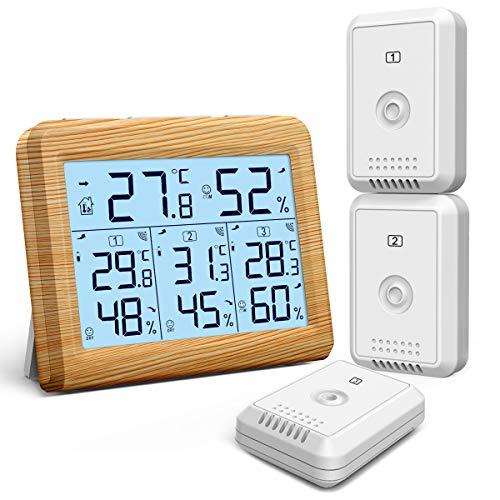 ORIA Digitales Thermo Hygrometer, Innen Außen Thermometer mit 3 Außensensor, Hintergrundbeleuchtung & Große LCD Display, Max/Min Anzeige, ℃/℉ Schalter, Ideal für Büro, Zuhause - Hölzernes Gelb