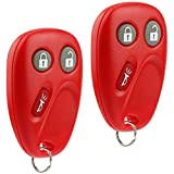 Key Fob Keyless Entry Remote fits Chevy Tahoe Suburban Silverado Avalanche Equinox SSR/GMC Sierra Yukon/Cadillac Escalade/Hummer H2 / Pontiac Torrent/Saturn Vue (LHJ011 Red), Set of 2