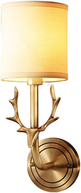 ZXW Wandleuchte- All-Kupfer-amerikanische Wandlampe, Wohnzimmer-Schlafzimmer-Korridor-Gang-dekorative Licht-E14 Lichtquelle (gre   13x38cm)