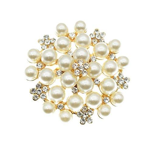 Elegant Pearl Floral Crystal Brooch Pin Set for Wedding Bridal