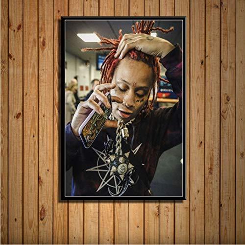 zpbzambm Trippie Redd Rap Hip Hop Rapper Star Musik Kunst Malerei Leinwand Poster Wand Wohnkultur Kunstwerk(Rahmenlos 50X70Cm) E-1229