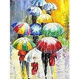 Vfvozr Kit de Pintura por números para Paraguas Adultos Paisaje DIY Pintura al óleo por número Regalos de cumpleaños para Adultos Niños Pintura 20x30cm Sin Marco