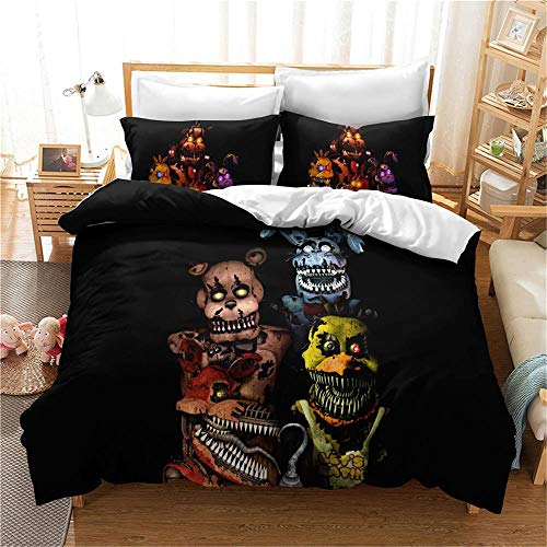 MENGBB Duvet Cover Set 3D Effect Horror black animal monster 135x200cm Total 4 Size, give away pillowcase, Duvet Cover single bed with 2 Pillow Cases 50x75cm Microfiber Bedding Quilt Cover Set with Zi