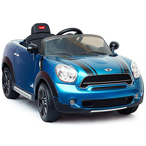 Costzon Kids Ride On Car, 12V Licensed Mini Countryman, Battery Powered Vehicles w/Parental Remote Control & Manual Modes, Led Lights, Auto Start, Music, Horn, MP3, High/Low Speed, Blue