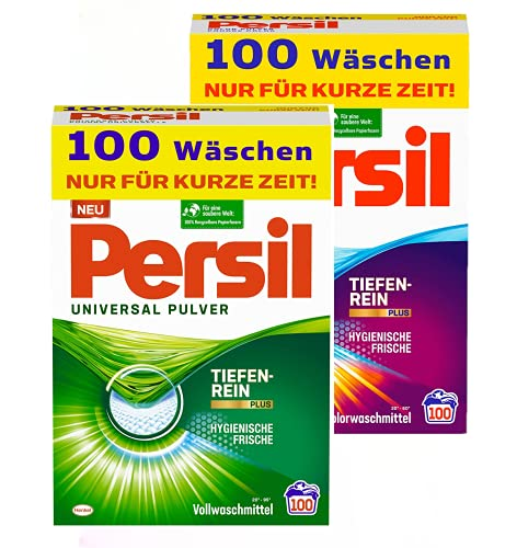 Persil Universal + Color Pulver, Vollwaschmittel + Colorwaschmittel 200 (2x 100 Waschladungen) mit Tiefenrein-Plus Technologie bekämpft hartnäckigste Flecken für strahlende Reinheit