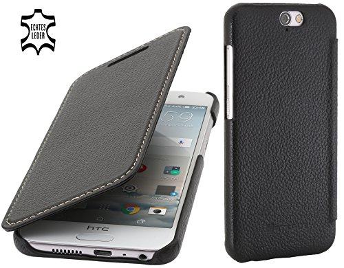 StilGut Book Type Hülle, Hülle Leder-Tasche kompatibel mit HTC One A9, Schwarz