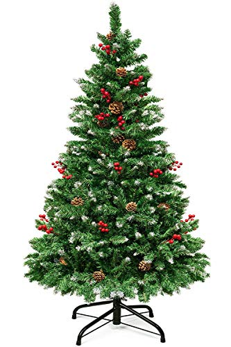 Christmas Tree 5Ft - Batone Pre-Decorated Artificial Xmas Tree - 450 Branch Spruce Hinged Christmas Tree with Partially Flocked Snow 26 Pine Cones 24 Berries for Indoor Outdoor Christmas Decor