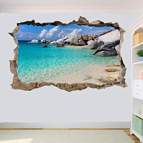 HUGF Wandtattoo Rocky Tropical Sea Beach Wandaufkleber 3D Kunst Wandtattoos Raumdekoration